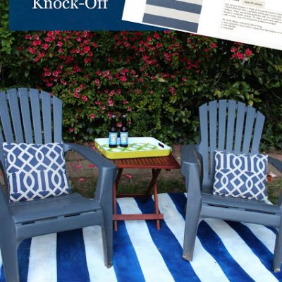 {Tutorial} Ballard Painted Striped Outdoor Rug Knock-Off