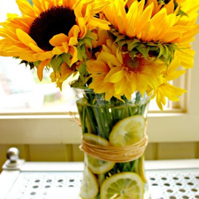 When Life Hands You Lemons…Sunflower & Lemon Vase