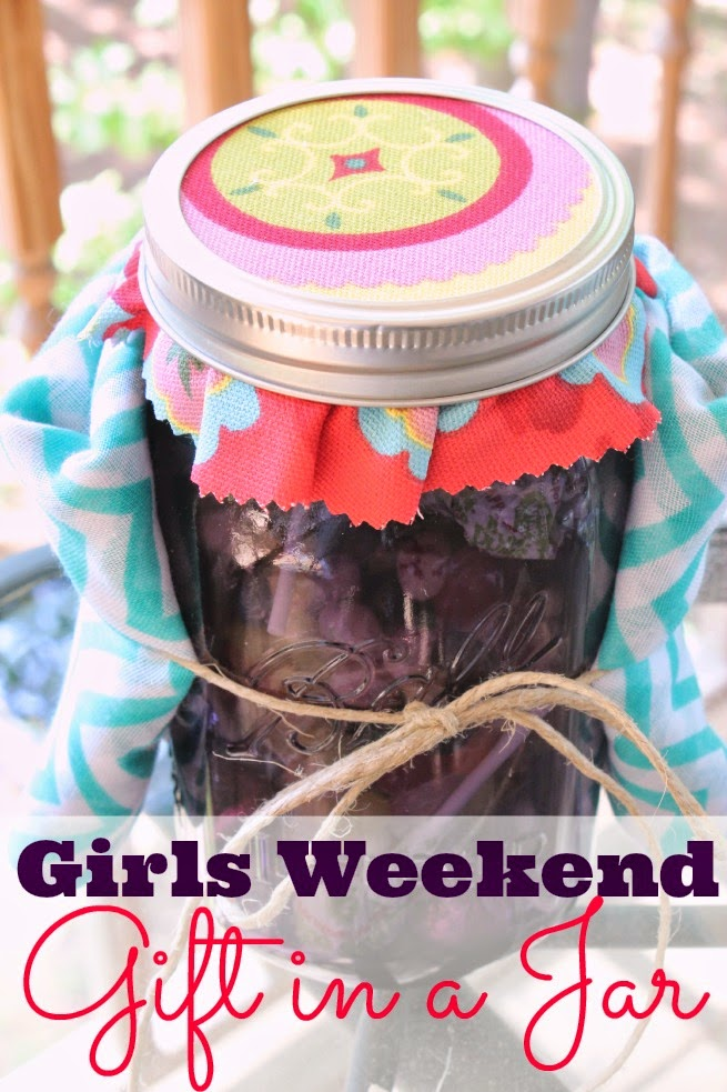 Girls Weekend Gift in a Jar- Scarf & Purple Mason Jar