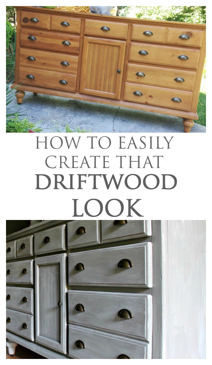How to Easily Create the Weathered Driftwood Look on Thrift Store Furniture