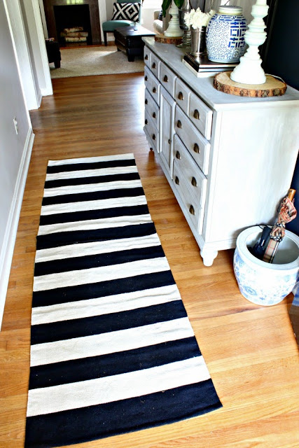 Striped Rug in Hale Navy Foyer