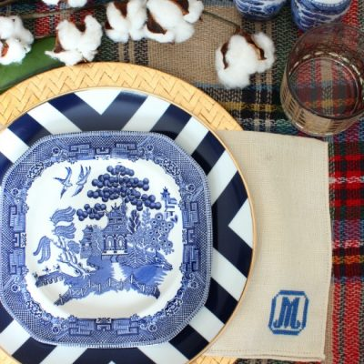Modern Blue Willow Thanksgiving Table