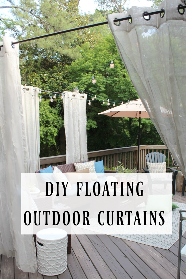 DIY Outdoor Curtain Rod- Privacy Curtain Ideas for deck
