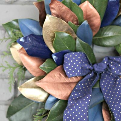 {DIY Metallic and Blue} Magnolia Leaf Wreath Tutorial