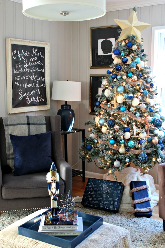 blue christmas white tree