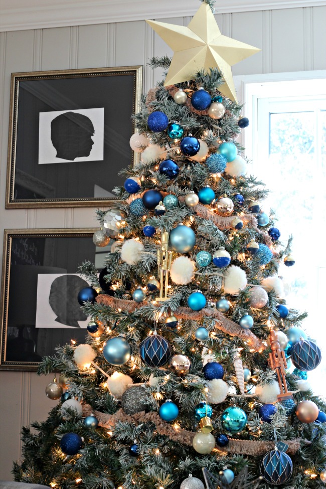 Decorations of Blue on White Christmas Tree , Southern State