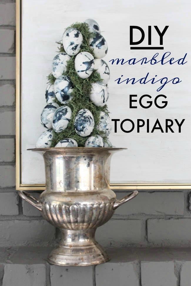 Marbled Indigo Egg Topiary Tutorial