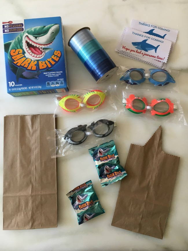 shark birthday party goodie bags