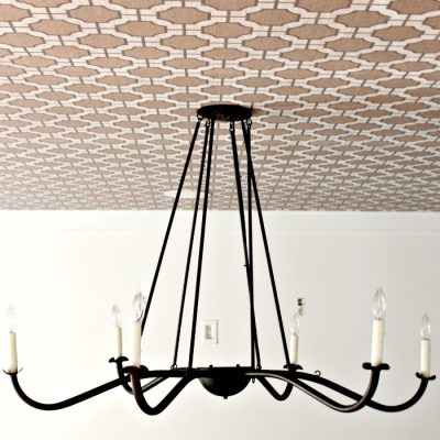 Our Wallpaper Ceiling, Chandelier and the Perfect White Paint