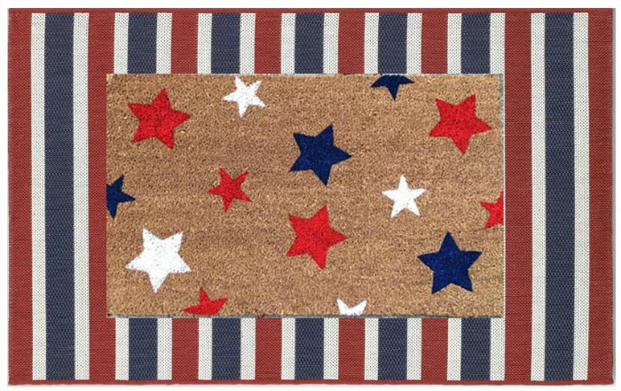 Layered Red White and Blue Doormat