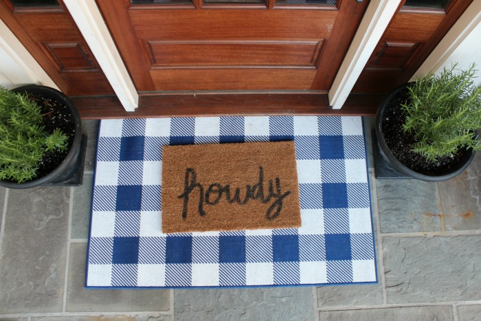 Layered Front Door Mat Blue Buffalo Check Rug