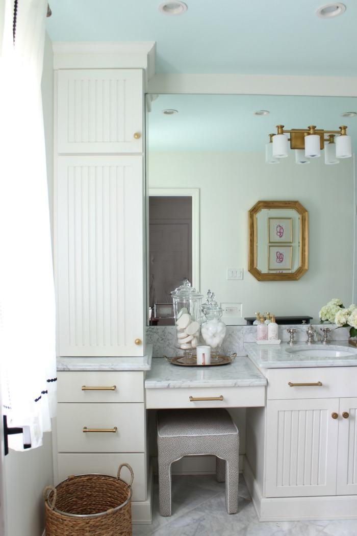 Modern Traditional Guest Bathroom Reveal gray and gold ...