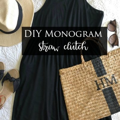 DIY Monogram Straw Clutch
