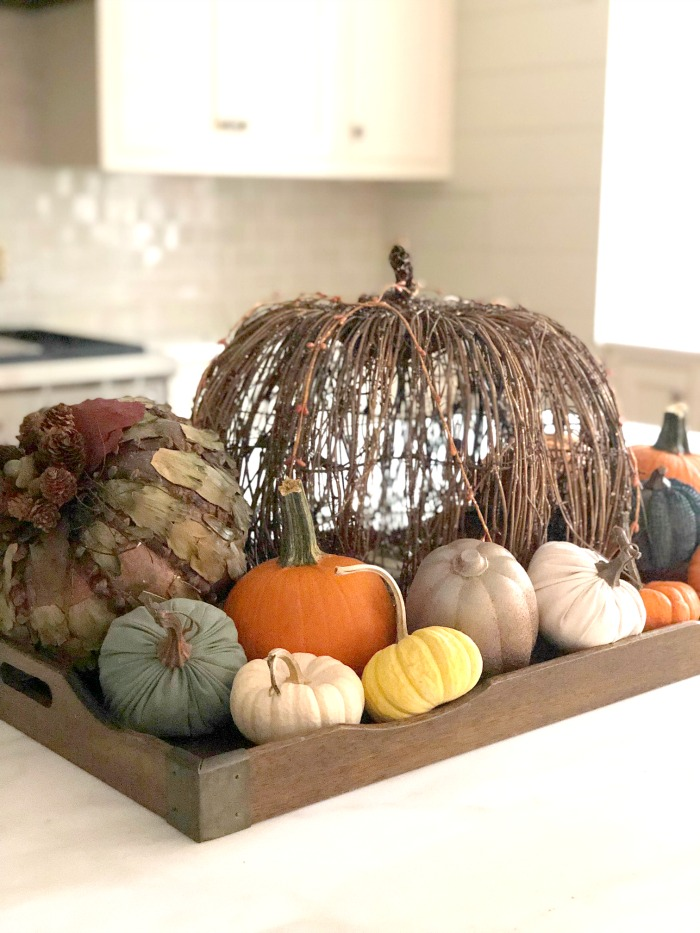 pumpkin kitchen island decor