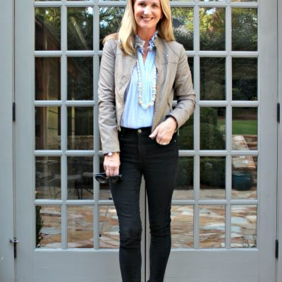 Date Night Style  | Black Jeans and Moto Jacket