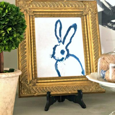 Adorable Blue and White Bunny Artwork Free Printables
