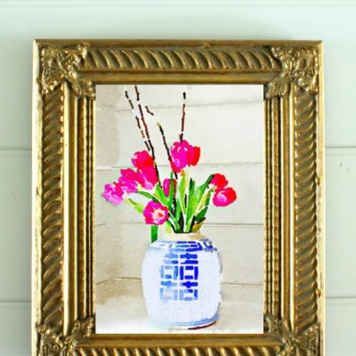 Cute Blue and White Ginger Jar Free Watercolor Art