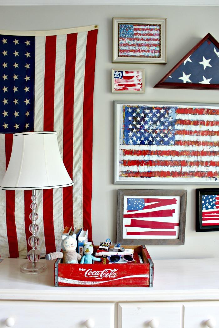 Vintage American Flag Framed
