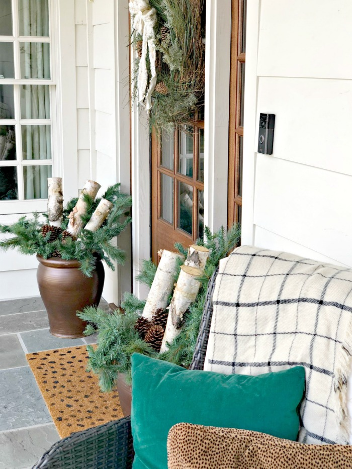 winter front porch planters