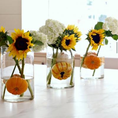 Fall Kitchen Island Centerpiece – Sunflowers and Pumpkins