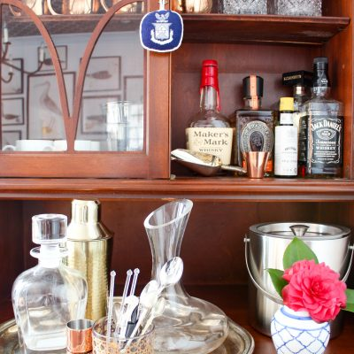 How I Turned Our Antique Secretary Into a Bar Cart
